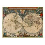 Nova Totius Terrarum Orbis Tabula World Map Postcard