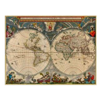 Nova Totius Terrarum Orbis Tabula World Map Post Card