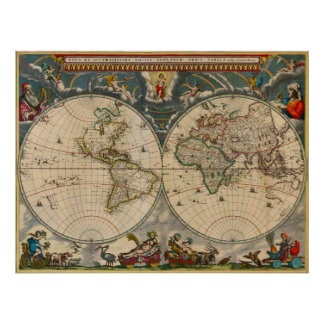 Nova Totius Terrarum Orbis Tabula World Map Poster