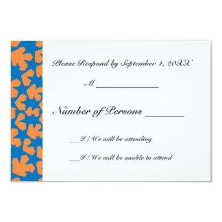 Novae Ivory (Blue/Orange) RSVP Card 9 Cm X 13 Cm Invitation Card