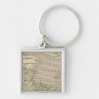 NovaScotia, New Brunswick Silver-Colored Square Key Ring