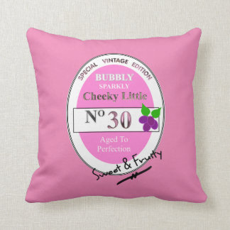 Novelty 30th Milestone Birthday Funny Wine Label Throw Pillow