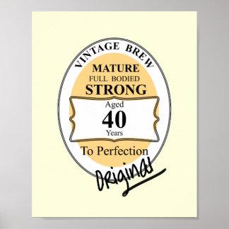 Novelty 40th Milestone Birthday Funny BeerLabel Poster