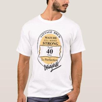 Novelty 40th Milestone Birthday Funny BeerLabel T-Shirt
