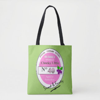 Novelty 40th Milestone Birthday Funny Wine Label Tote Bag