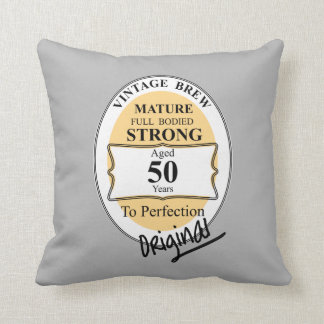 Novelty 50th Milestone Birthday Funny BeerLabel Cushion
