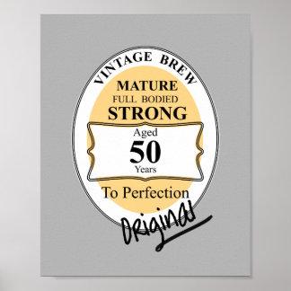 Novelty 50th Milestone Birthday Funny BeerLabel Poster
