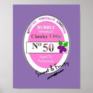 Novelty 50th Milestone Birthday Funny Wine Label Poster