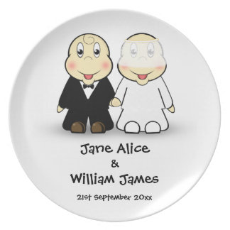 Novelty Bride & Groom Cartoon Wedding Memento Plate