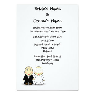 Cartoon Bride Groom 5x7 Wedding Invitations