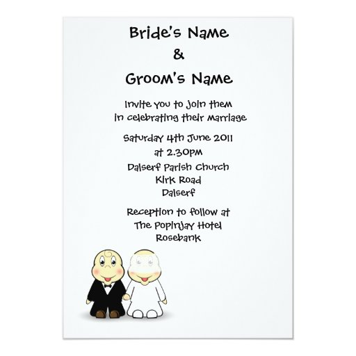 Wedding Invitation Message From Bride And Groom: Novelty Bride & Groom Wedding Invitation Template