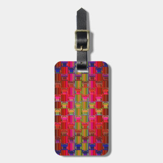 Novelty Headphones Multicolored Mosaic Pattern Luggage Tag