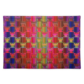 Novelty Headphones Multicolored Mosaic Pattern Placemat