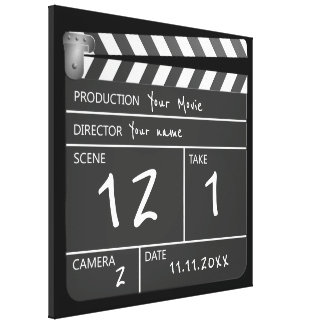 Novelty Personalized Unique Movie Clapperboard Canvas Print