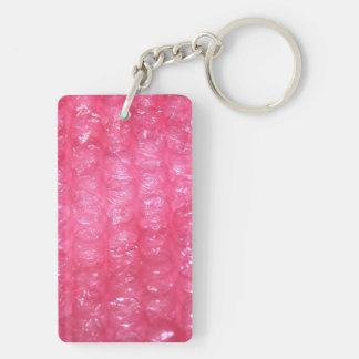Novelty Pink Bubble Wrap Look Double-Sided Rectangular Acrylic Key Ring