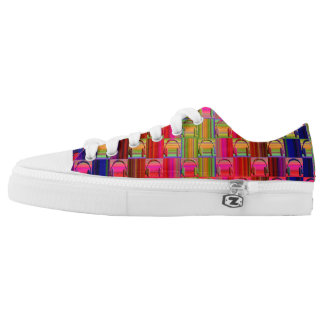 Novelty Rainbow Colors Music Headphones Mosaic Low Tops