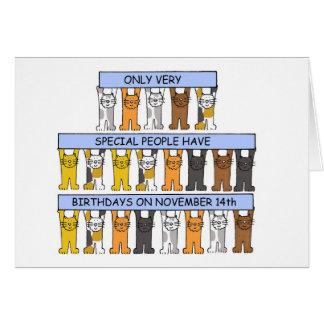 November 14th Birthdays celebrated by cats. Card