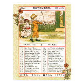 November 1884 Almanac.  Sagittarius, The Archer Postcard