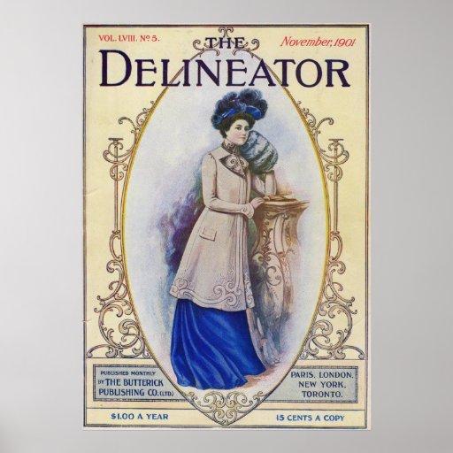 November 1901 Fashion Magazine Cover Posters