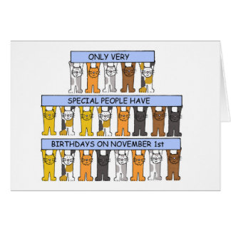 November 1st Birthdays celebrated by cats. Card