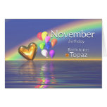 November Birthday Topaz Heart Card
