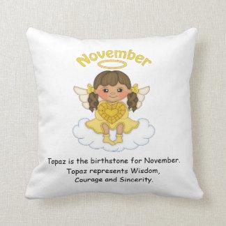 November Birthstone Angel Brunette Throw Pillow