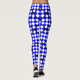 NOVEMBER Blue White Checkered Square Leggings