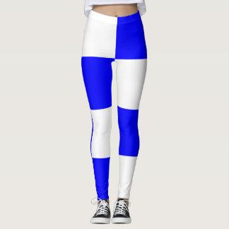 NOVEMBER Blue White Checkered Square Leggings