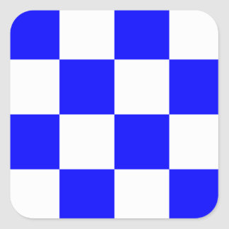 NOVEMBER Blue White Checkered Square Square Sticker