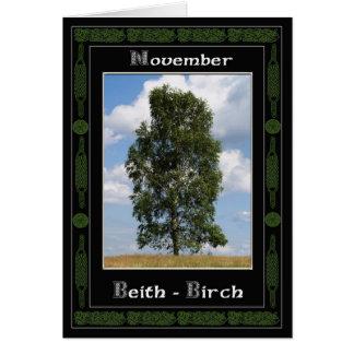 November Celtic Druid Birthday Tree Symbols Greeting Card