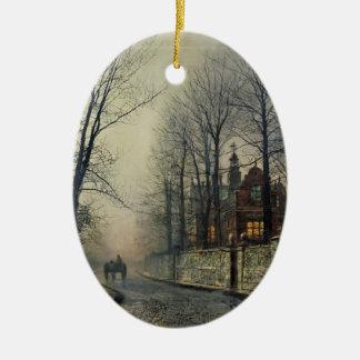 November Moonlight by John Atkinson Grimshaw Double-Sided Oval Ceramic Christmas Ornament