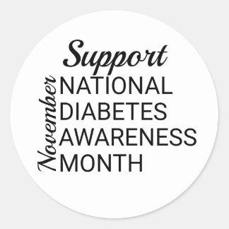 November National Diabetes Awareness Month Classic Round Sticker