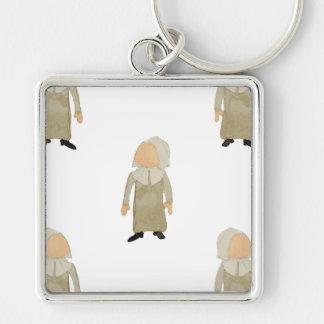 November Thanksgiving Pilgrim Puritan Kids Pattern Silver-Colored Square Key Ring
