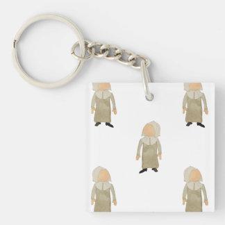November Thanksgiving Pilgrim Puritan Kids Pattern Single-Sided Square Acrylic Key Ring