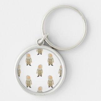 November Thanksgiving Pilgrim Puritan Kids Pattern Silver-Colored Round Key Ring