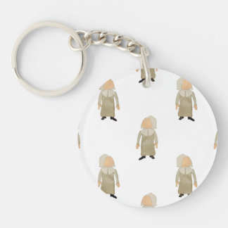 November Thanksgiving Pilgrim Puritan Kids Pattern Double-Sided Round Acrylic Key Ring