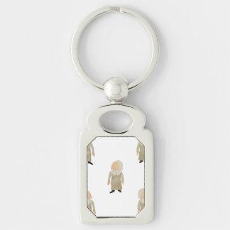 November Thanksgiving Pilgrim Puritan Kids Pattern Silver-Colored Rectangle Key Ring