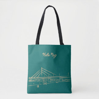 Novi Sad Liberty Bridge Elegant Turquoise Sketch Tote Bag