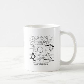 Novice Plumbers Install a Washer Basic White Mug