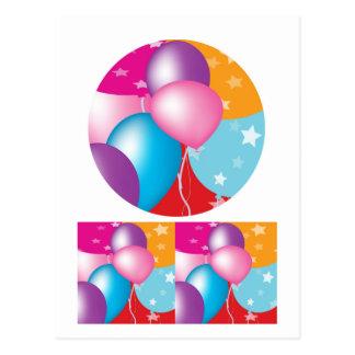 NOVINO Celeberations - Baloons,Stars n Hearts Postcard