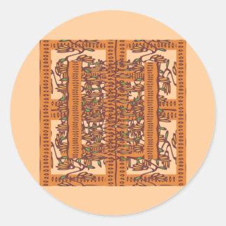 NOVINO Floral Border Pattern Round Sticker