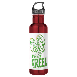NOVINO Miss Green needs help 24oz Water Bottle