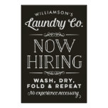Now Hiring Fun Personalised Laundry Room Print