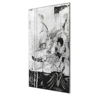 Now King Arthur saw the Questing Beast Stretched Canvas Print