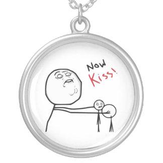 Now Kiss Rage Face Comic Meme Round Pendant Necklace