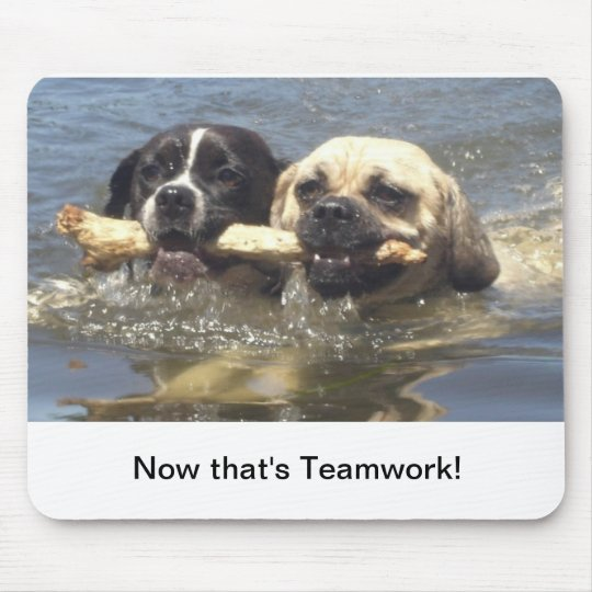 Now that's teamwork mouse pad
