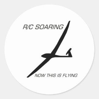 NOW THIS IS FLYING ... Black Glider Round Sticker