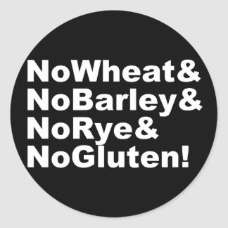 NoWheat&NoBarley&NoRye&NoGluten! (wht) Classic Round Sticker