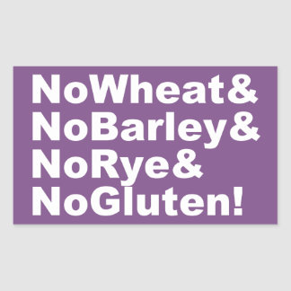 NoWheat&NoBarley&NoRye&NoGluten! (wht) Rectangular Sticker