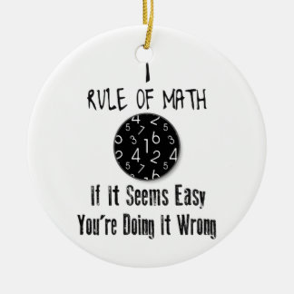 Nr 1 rule of Math Round Ceramic Decoration